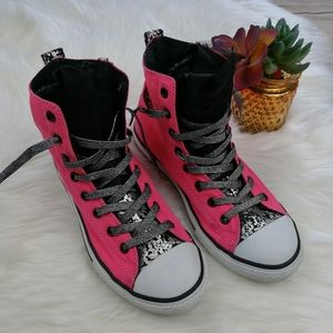 Converse Pink High Top with Lace Sneakers Size 4